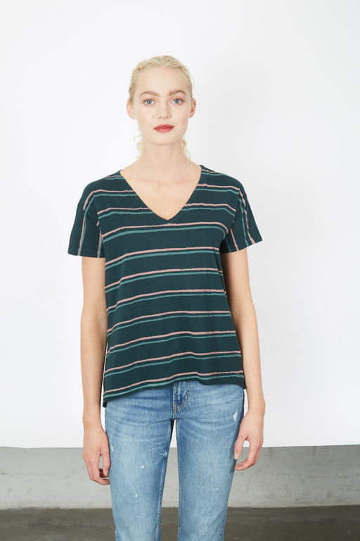 V-NECK Palm Twin Stripe