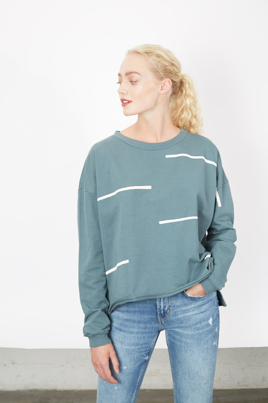 BOXY SWEATSHIRT Aloe Stacatto Stripe