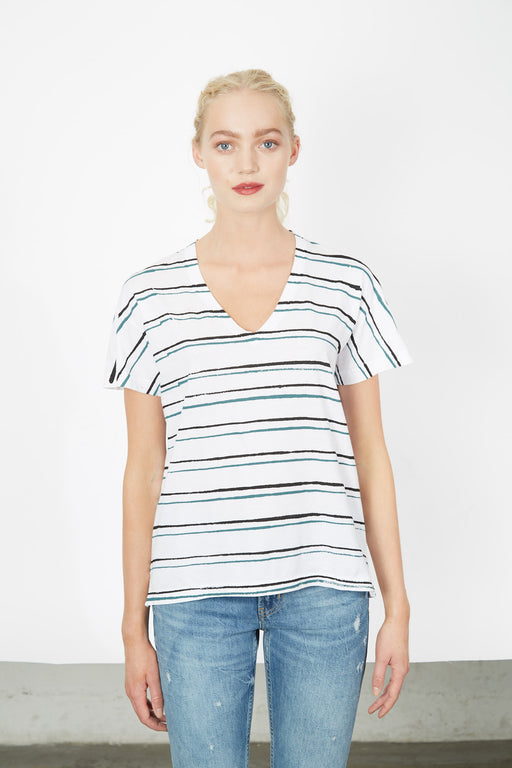 V-NECK White Twin Stripe