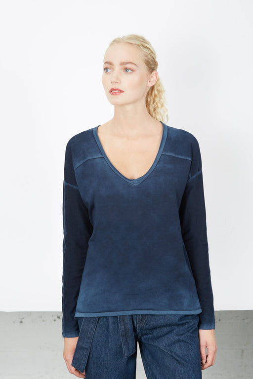 V-Neck SWEATSHIRT Vintage Blue