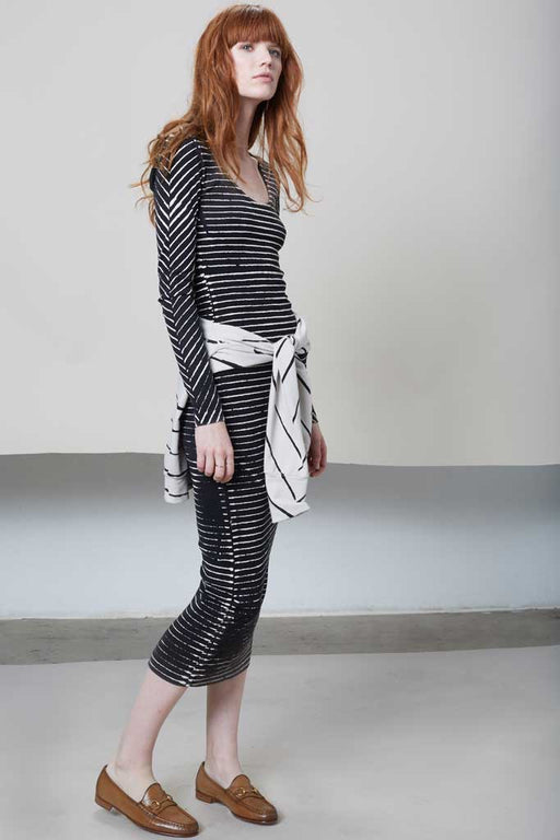 THE LONG SLEEVE RIBBED DRESS - Black Pin Stripes