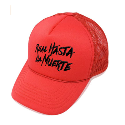 Real Hasta La Muerte Red Trucker Hat