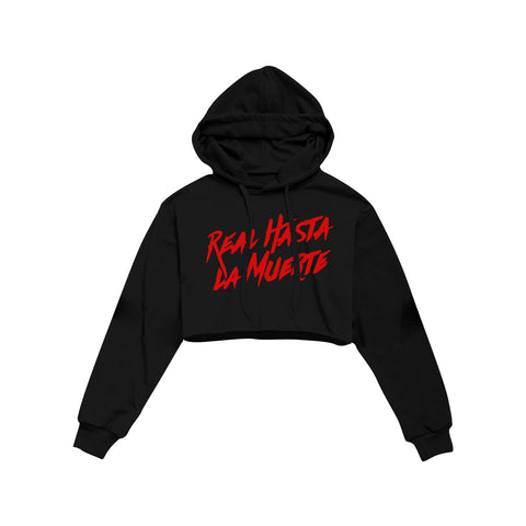 Real Hasta La Muerte Women's Crop Hoodie - Black / Red