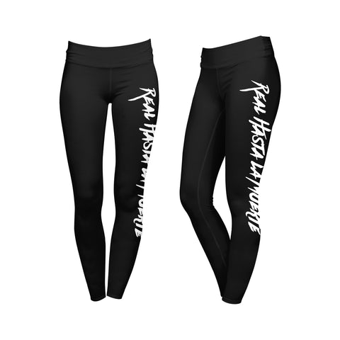 Womens Black/White Real Hasta La Muerte Leggings