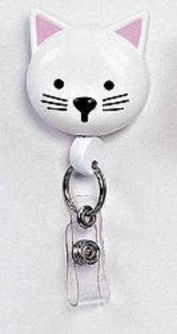 Retractamal Retractable ID/Badge Holder - Cat (White)