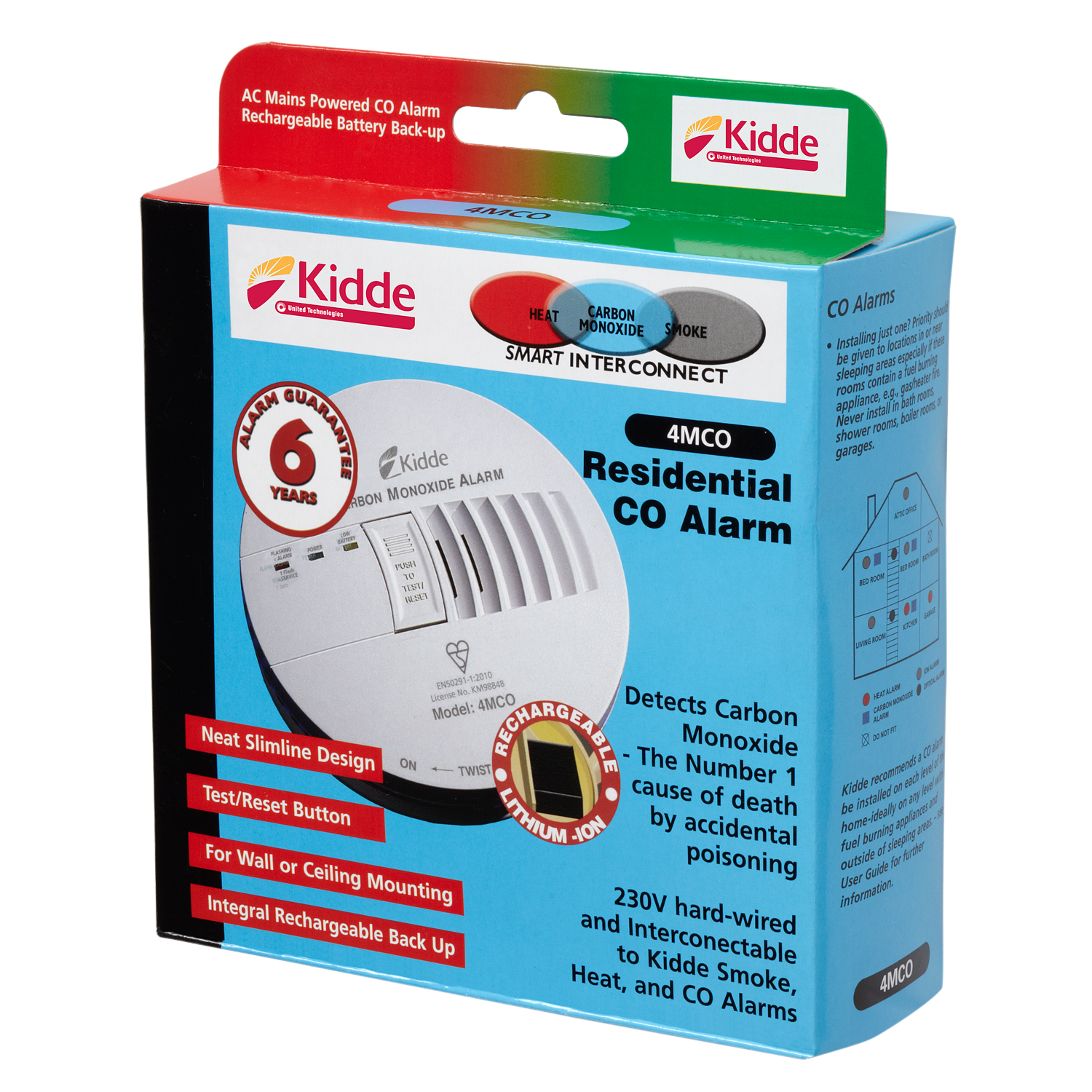 Kidde Mains Powered (230V) with 6 years Battery Backup  4MCO - COD19
