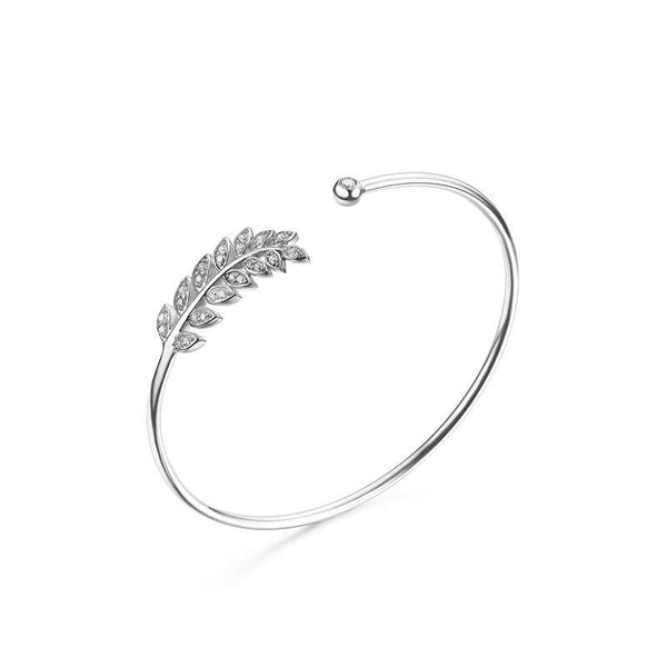 Leaf Cuff Bangle - Women's Bracelets - Pandora's Locket