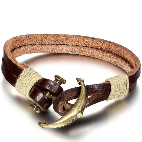 Leather Band with Anchor - Men's Bracelets - Pandora's Locket