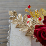 Rose and Gold Hair Comb - Hair Jewelry - Pandora's Locket