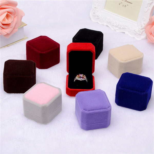 Cube Velvet Ring Box - Jewelry Gift Boxes - Pandora's Locket