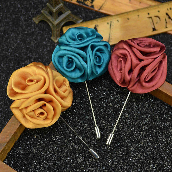 Folded Flower Lapel Pin - Men's Formal Accessories - Pandora's Locket