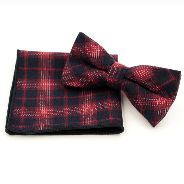 Jacquard Bow Tie and Pocket Square - Red with Black Plaid - Bow Ties and Pocket Squares - Pandora's Locket