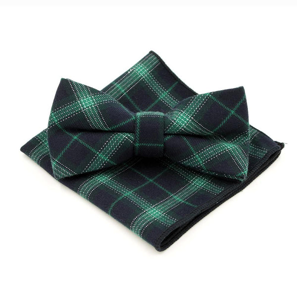 ecd73020e7a0 Jacquard Bow Tie and Pocket Square - Green with Blue Plaid - Bow Ties and  Pocket