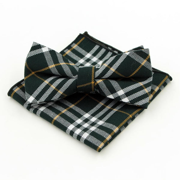 Jacquard Bow Tie and Pocket Square - Green Plaid - Bow Ties and Pocket Squares - Pandora's Locket