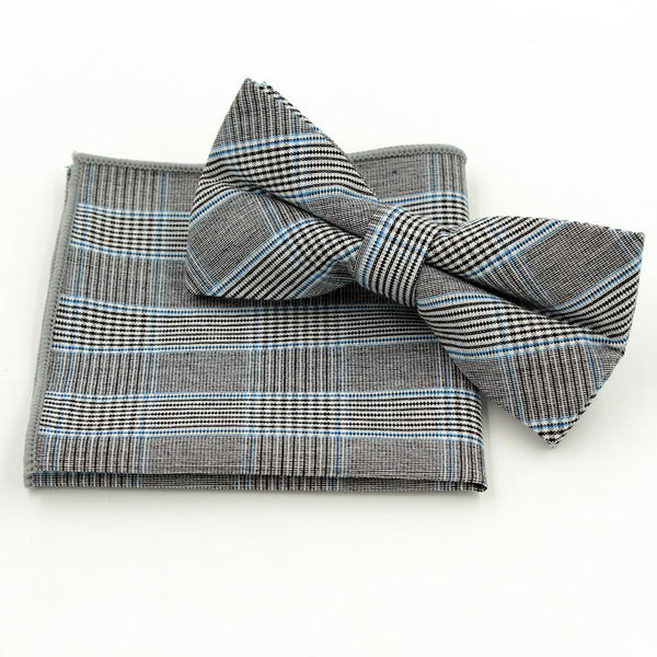 Jacquard Bow Tie and Pocket Square - Grey with Blue Stripe - Bow Ties and Pocket Squares - Pandora's Locket
