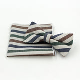 Jacquard Bow Tie and Pocket Square - Burlap Stripe - Bow Ties and Pocket Squares - Pandora's Locket