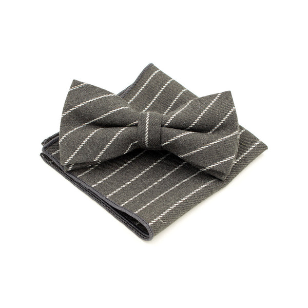 Jacquard Bow Tie and Pocket Square - Grey with Bold Stripe - Bow Ties and Pocket Squares - Pandora's Locket