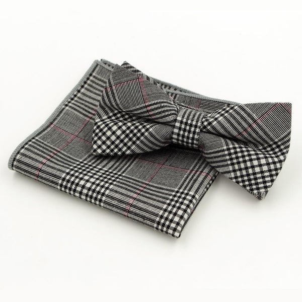 Jacquard Bow Tie and Pocket Square - Grey with Black Stripe - Bow Ties and Pocket Squares - Pandora's Locket