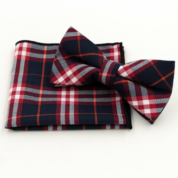 Jacquard Bow Tie and Pocket Square - Red Plaid - Bow Ties and Pocket Squares - Pandora's Locket
