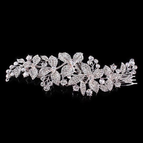 3 Comb Long Crystal Hair Comb - Hair Jewelry - Pandora's Locket