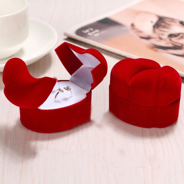 Red Velvet Couple's Ring Box - Jewelry Gift Boxes - Pandora's Locket