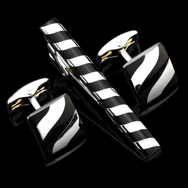 Bennington Tie Clip and Cufflinks Set - Men's Formal Accessories - Pandora's Locket