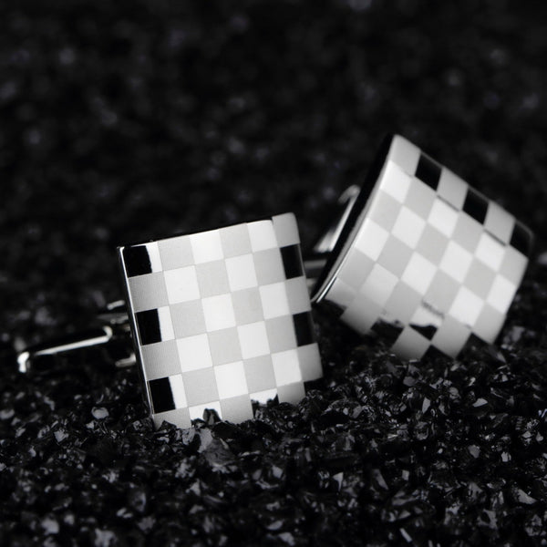 Checkerboard Cufflinks - Silver - Men's Formal Accessories - Pandora's Locket