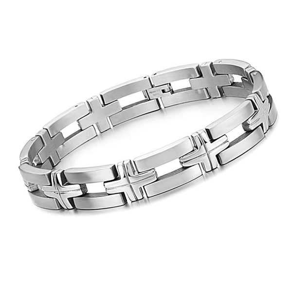 Cross Link Wrist Band - Men's Bracelets - Pandora's Locket