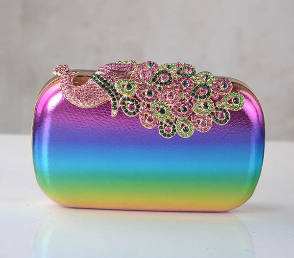 Rainbow Peacock Clutch - Clutch Purse - Pandora's Locket