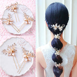 Gold and Pearl Floral Hair Pin - Hair Accessories - Pandora's Locket