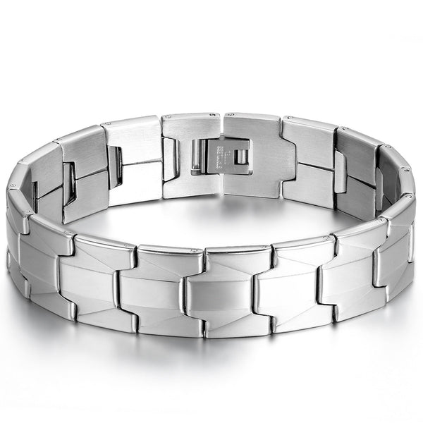 Tungsten Link Wrist Band - Men's Bracelets - Pandora's Locket