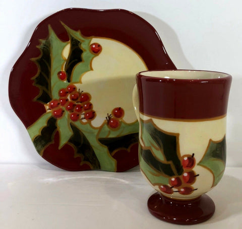 Katherine's Collection Holiday Holly Berry Rare Pedestal Coffee Mug/Cup & Saucer - 	Golden Gate Emporium