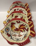 "Maxcera Set of 4 Hand-Painted ""RED YELLOW ROOSTER"" Snack Bowls (Fish Shaped) - 	Golden Gate Emporium"