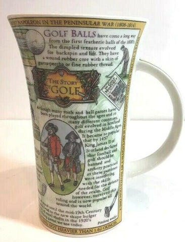 "Dunoon Mug By Caroline Dadd The Story of Golf 6"" H  Fine Stoneware Cup - 	Golden Gate Emporium"