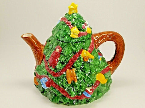 RH Macy & Co Christmas Tree Shaped Teapot - 	Golden Gate Emporium
