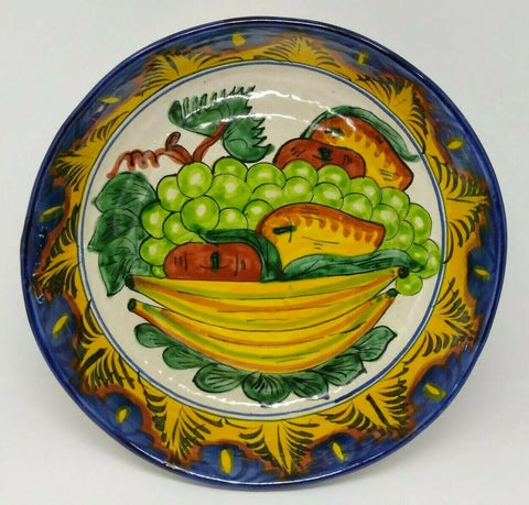 "Talavera Pottery Mexico Serving Bowl Fruits Blue Yellow Green Orange 9 5/8"" D - 	Golden Gate Emporium"