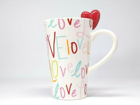 Target Tall Latte Mug Valentine's Day 2010 Love Red Heart on Border Edge Cup