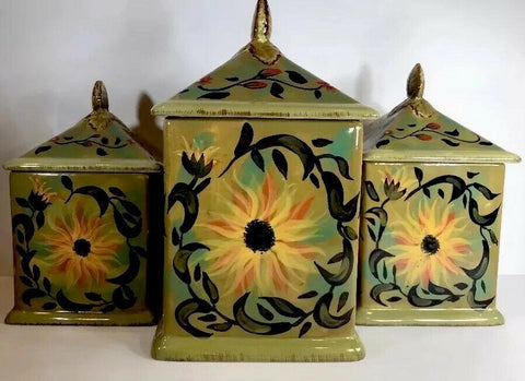 Rare Certified International Set Of 3 Canisters By Margaret le Van Designs - 	Golden Gate Emporium