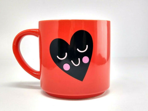 THRESHOLD Stoneware Red Coffee Mug Smiling Heart Black Pink White 16 oz. Cup - 	Golden Gate Emporium