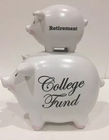 C.M. Redwine Coin Piggy Bank 2006 Retirement College Fund Ceramic Smooth Surface - 	Golden Gate Emporium