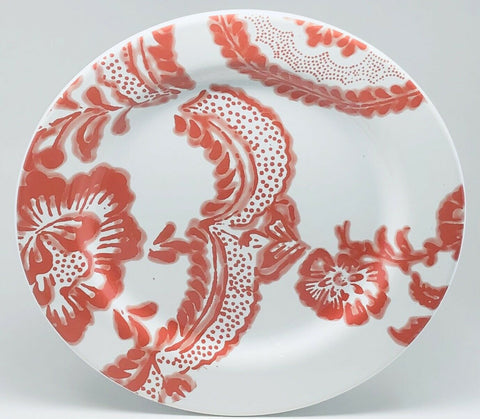 "Anthropologie Portugal Ceramic Dinner Plate Red Floral White Background 10 3/4""D - 	Golden Gate Emporium"