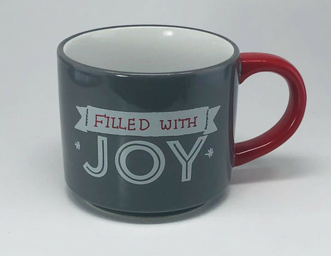 "Threshold Coffee Mug ""FILLED WITH JOY"" 14 Oz Stoneware Gray Cup Red Handle"