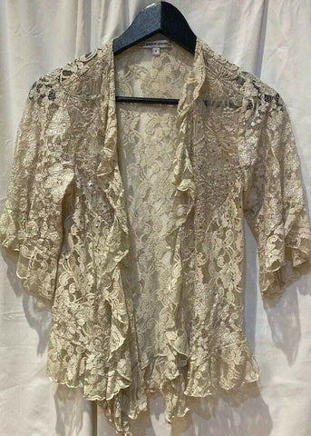 Spencer Alexis Woman Beige Embellished Blouse Open Front Top S - 	Golden Gate Emporium