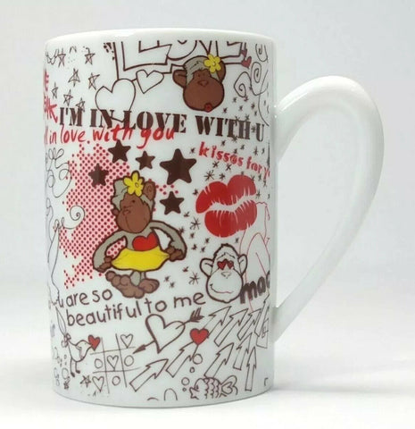 Valentine Love Hearts NICI Monkey Mug Ceramic Coffee Cup - 	Golden Gate Emporium