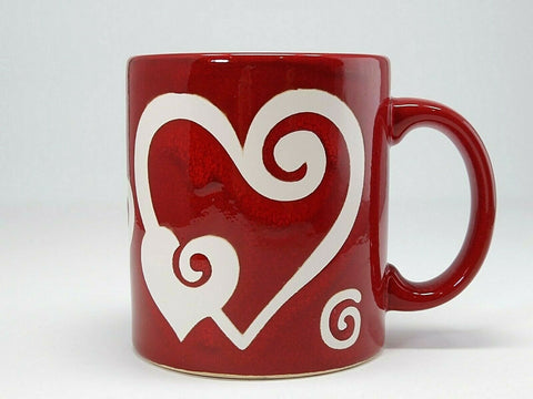 Waechtersbach Germany Coffee Mug Red & White Swirl Valentine's Heart 12 oz. Cup - 	Golden Gate Emporium