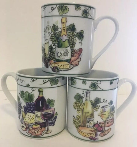 Set of 3 I. Godinger & Co. Wine & Cheese Ceramic Mug/Cup - 	Golden Gate Emporium