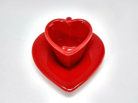 Rare Haldun Seramik Red Cup & Saucer Heart Shape Turkey 2 oz - 	Golden Gate Emporium