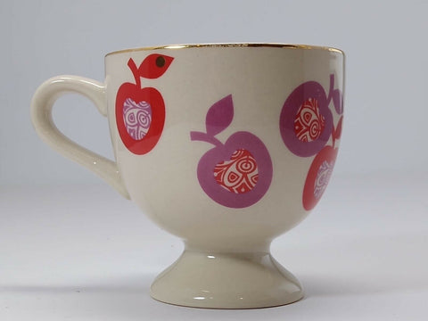 Anthropologie Ceramic Coffee Mug Apples Pedestal Tea Cup 8 oz. - 	Golden Gate Emporium