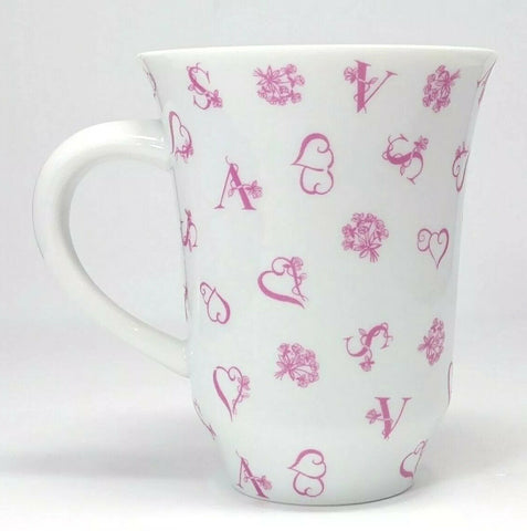 Rare Victoria's Secret Coffee Mug Hearts Love Valentine white Pink Cup 15 oz. - 	Golden Gate Emporium