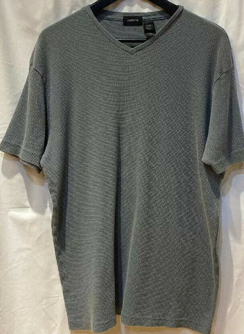 Vintage Claiborne Men's Casual T-Shirt  V-Neck Textured L Top Green - 	Golden Gate Emporium